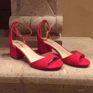 Just Fab Red Suede Block Heel Ankle strap sandals